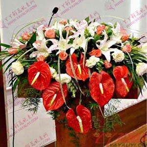 讲台花-西安讲台花(豪华型)6枝百合22枝粉玫瑰
