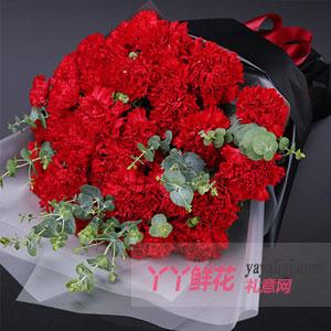 感谢一生 - 33支红色康乃馨尤加利叶搭配