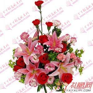 西安講臺花6枝康乃馨7枝紅玫瑰2枝百合