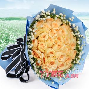 開心的日子-33朵香檳玫瑰配黃鶯滿天星