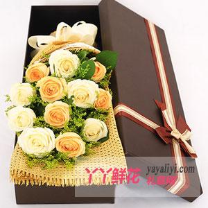鲜花预订5朵香槟玫瑰6朵白玫瑰