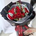 19朵红玫瑰尤加利叶黑色包装