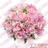 新娘手捧花28枝戴安娜粉玫瑰
