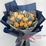 19朵香檳玫瑰搭配銀葉菊情人草