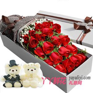 鲜花速递21枝红玫瑰2小熊礼盒