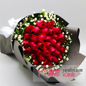 鲜花速递33枝红玫瑰女友...
