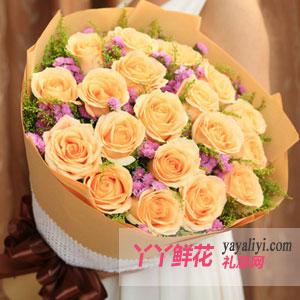 一世守候-鲜花速递19枝精品香槟玫瑰