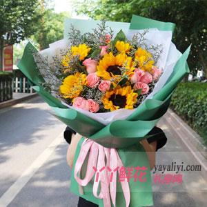 鲜花速递11枝粉玫瑰6朵...
