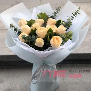 11朵香檳玫瑰配梔子葉尤...