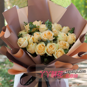 送女朋友33朵香槟玫瑰尤加利叶
