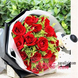 鲜花19枝红玫瑰2只小熊...