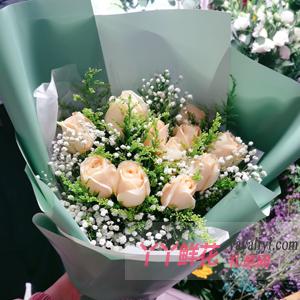 鲜花11枝精品香槟玫瑰黄...