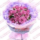 鮮花21枝紫色玫瑰