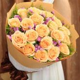 鲜花速递19枝精品香槟玫瑰