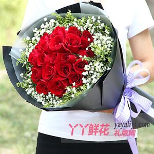 鲜花速递19支红玫瑰满天星黑色款