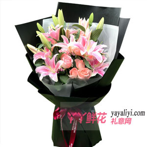 我的思念 - 鮮花16朵粉百合9朵粉玫瑰混搭