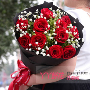 11支紅玫瑰間插滿天星