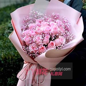 19朵粉玫瑰搭配紫色满天星