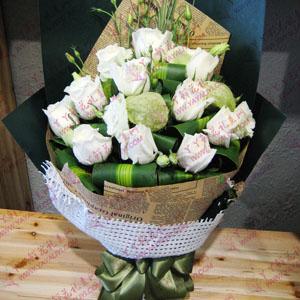 鮮花11支白玫瑰配洋桔梗...