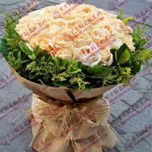 鮮花預訂66朵香檳玫瑰