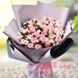 33朵粉玫瑰點綴相思梅