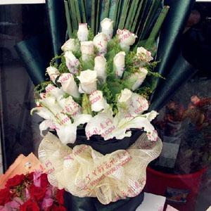 鮮花19支白玫瑰2支百合