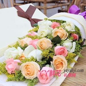 爱在这一刻-鲜花19支混色玫瑰礼盒