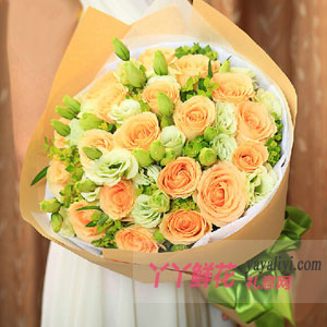 鮮花19支香檳玫瑰網上訂花