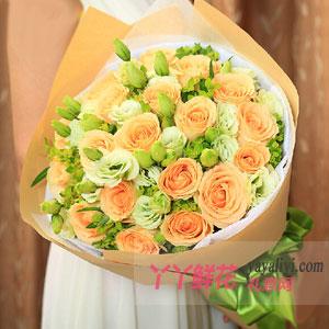 甜蜜的爱-鲜花19支香槟玫瑰网上订花