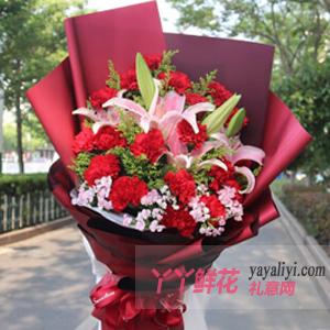 19朵红色康乃馨6朵粉色...