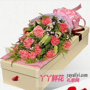 19朵粉色康乃馨2枝多头百合白色礼盒
