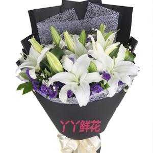 最好的祝福-19朵白百合配紫色勿忘我思梅梔子葉