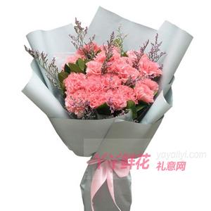 19朵粉色的康乃馨搭配情人草綠葉