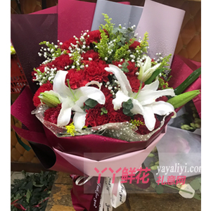 老人60岁生日送19朵红色康乃馨4朵白色百合