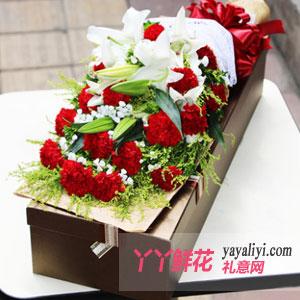 開心祝福 - 19支紅色康乃馨2枝多頭百合禮盒