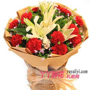 訂花19枝紅色康乃馨3枝百合