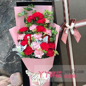岳母生日送19枝雙色康乃馨禮盒