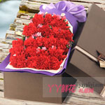 19朵红色康乃馨咖色礼盒