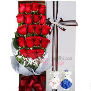 19支紅玫瑰2小熊高檔禮盒