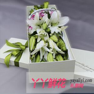 神采飞扬-特价16支粉香水百合礼盒鲜花速递