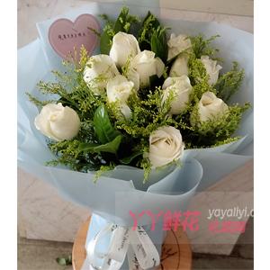 第一次和女孩子約會送11朵白玫瑰搭配黃鶯梔子葉