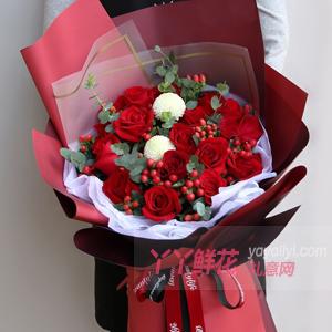 Amour-鲜花速递19枝红玫瑰2小熊送花