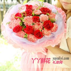 鲜花20支粉色康乃馨9朵红玫瑰