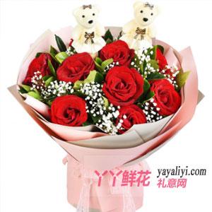 11支红玫瑰2只小熊