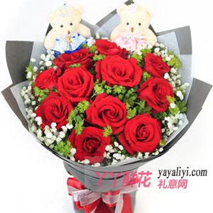 鮮花11朵紅玫瑰2小熊
