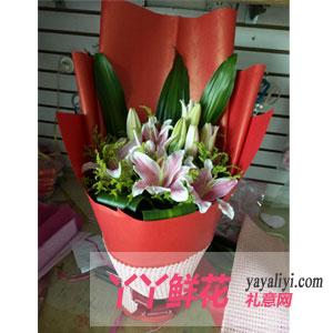 8支粉百合鲜花