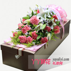 愛的祝福-19朵粉色康乃馨2枝多頭百合咖色禮盒