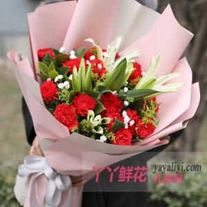 19朵红色康乃馨6朵百合