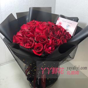 生日一般送33朵红玫瑰黑色网纱包装