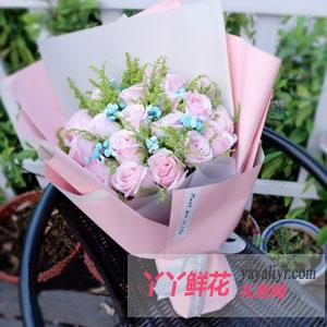 守護愛-鮮花速遞19支粉玫瑰